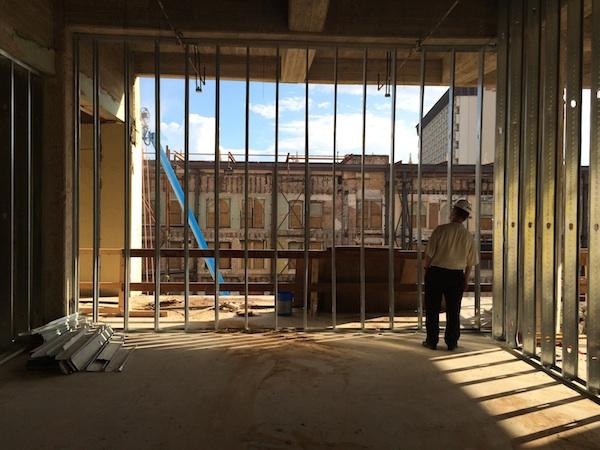 Centro San Antonio tour guests explore the Joske's construction site. Photo by Katherine Nickas.