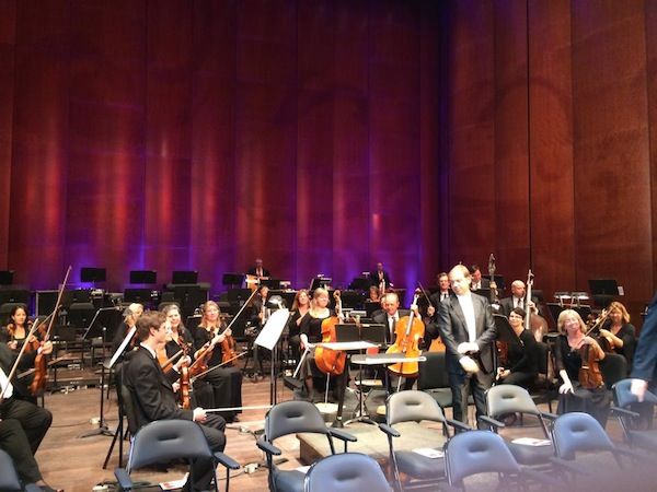 On stage with the San Antonio Symphony during the Tobin Center's opening ceremony. Photo by Mari Aguirre-Rodriguez.