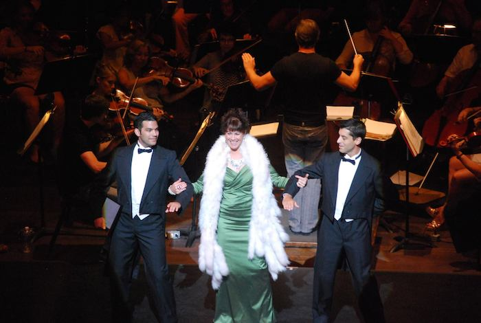 """Dress rehearsal of Opera San Antonio's performance featuring Elizabeth Futral with Danny Mitsios and James Vargas performing """"Glitter and Be Gay"""" from Bernstein's """"Candide"""" with members of the San Antonio Symphony at the Tobin Center. Photo courtesy of Opera San Antonio Facebook."""
