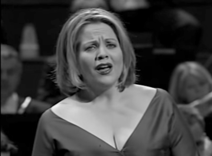"""Renee Fleming performs Richard Strauss' """"Four Last Songs"""" in 2007. Screen shot from video."""