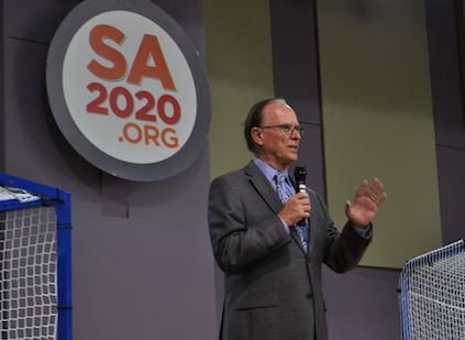 Bexar County Judge Nelson Wolff speaks during the 2014 SA2020 Progress Report. Photo by Iris Dimmick.