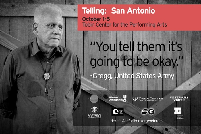 Gregg, a veteran of the U.S. Army and a San Antonio cast member of the Telling Project, will tell his story about war and integration at the Tobin Center, Oct. 1-5. Image courtesy of KLRN.