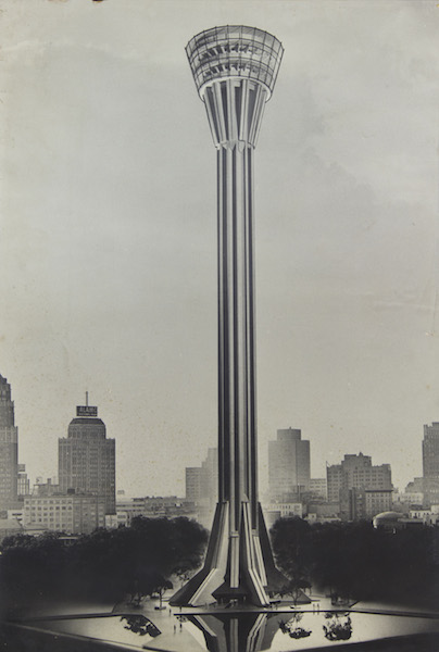 """An early design for the Tower of the Americas with a flared top and bottom. Image from the exhibit, """"Education by Design: Drawings from the Collection of Ford, Powell & Carson, 1939-1970"""" at Trinity University."""