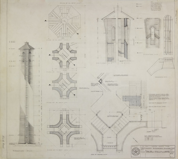 """Construction drawings of the Trinity University Tower. Image from the exhibit, """"Education by Design: Drawings from the Collection of Ford, Powell & Carson, 1939-1970"""" at Trinity University."""