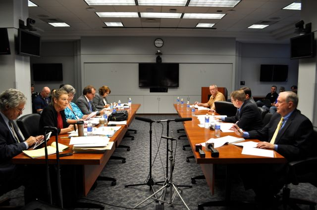 City (left) and police union (right) representatives during the collective bargaining meeting. Photo by Iris Dimmick.