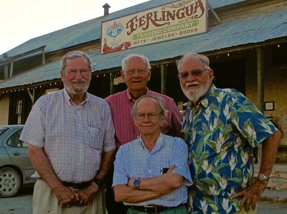 Clay McGaughy (front) stands fellow members of the Watercolor Gang (from left) E. Gordon West, Lee Ricks and Finis Collins. Courtesy photo.