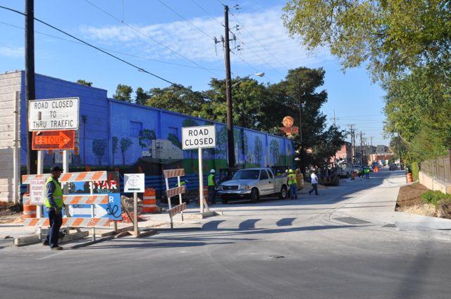 Construction on the South Alamo Street bridge on Oct. 22, 2014. Photo by Iris Dimmick.