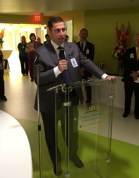 Children's Hospital of San Antonio President Elias Neujahr said the new eighth and ninth floors of the hospital offer world-class health care to children and a commitment to kids and families in a healing environment. Photo by Katherine Nickas.