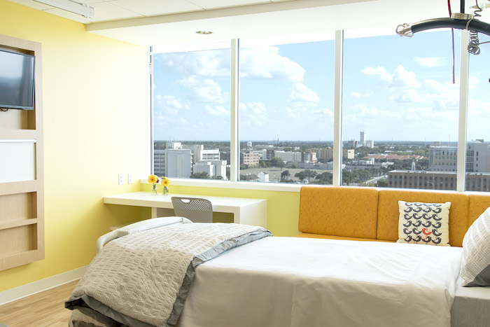 A renovated room at the Children's Hospital of San Antonio and Vistamatic privacy window. Image courtesy of Christus Santa Rosa Health System.