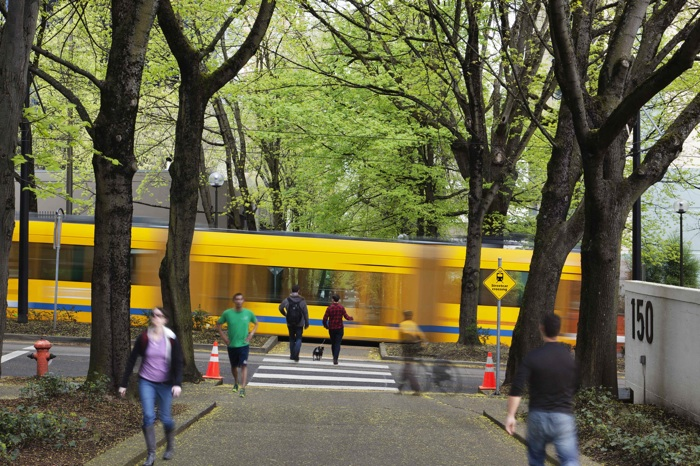 A Portland streetcar in the SoMa EcoDistrict. Photo courtesy of EcoDistricts.