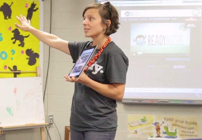 Emily Roden, founder of ReadyRosie, presenting the program to a group of parents and teachers in Tulsa recently. Courtesy photo.