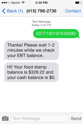 Balance in action, using a trial EBT number. It took less than a minute to receive the text containing the balance amount.