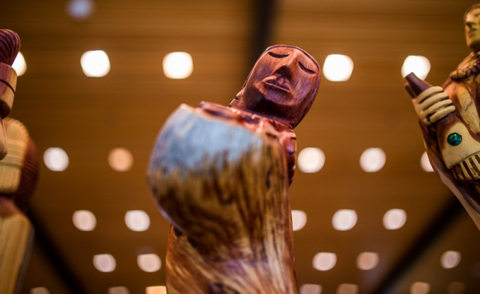 Wood carved sculptures carved by Navajo Harry Benally featured at the 2014 Yanaguana Indian Arts Market. Photo by Scott Ball.