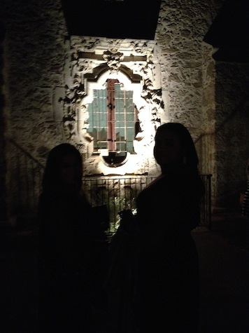 The Rose Window illuminated for guests at Mission San José. Photo by Robert Rivard.