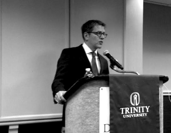 Former White House Press Secretary Jay Carney at Trinity University for the Policy Maker Breakfast Series. Photo by Sarah Gibbens.