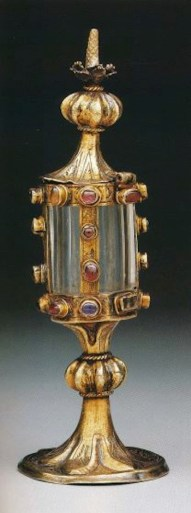 """Monstrance reliquary in the form of a turret, 13th century. Image from """"The Quedlinburg Treasury."""""""