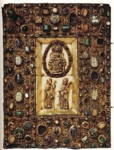 "Samuhel Gospel cover, 10th century, wooden core, gilt silver, precious & semi-precious stones, pearls. Image from ""The Quedlinburg Treasury."""