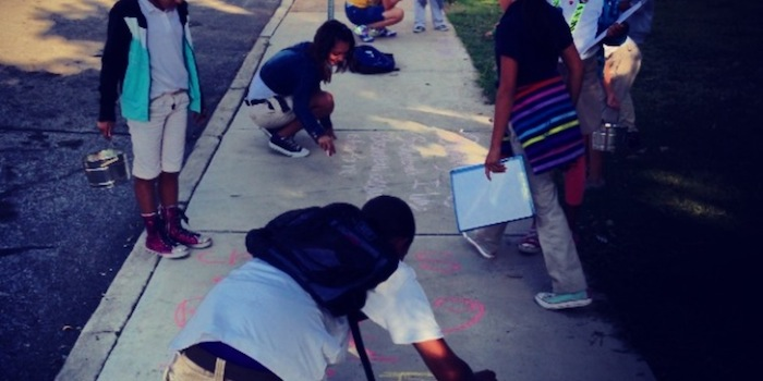 Kids, chalk, and poetry: It's a winning combination. Courtesy photo.