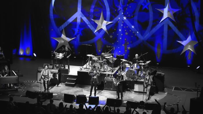 Ringo Starr and His All-Starr Band engage with fans during their concert at the Tobin Center for the Performing Arts. Photo by Alan Weinkrantz.