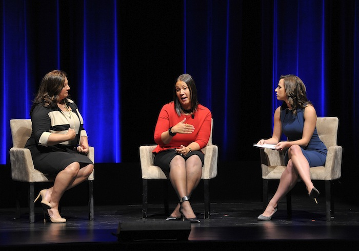 """Janet Sanchez (from left), Betty Easley, and Alicia Menedez, speak during the program, """"Challenges on the Home Front,"""" during the Women In The World Texas Forum. Photo by Robin Jerstad/DA Media for Women in the World."""