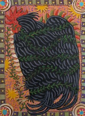 Pollo Negro (Black Chicken) 2012, gouache on paper, 48 x 35 inches, by Raymundo Gonzalez.