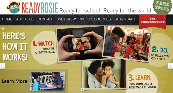 Screen shot of the ReadyRosie homepage.