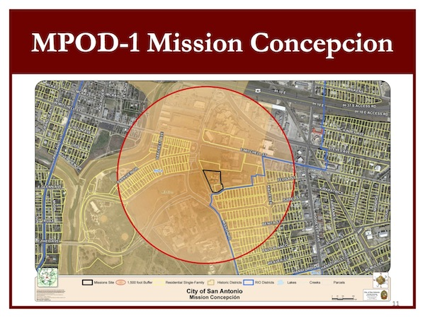 Mission Concepción Protection Overlay Zoning District circumference extends 1,500 feet from a designated point at the Mission's front entrance.