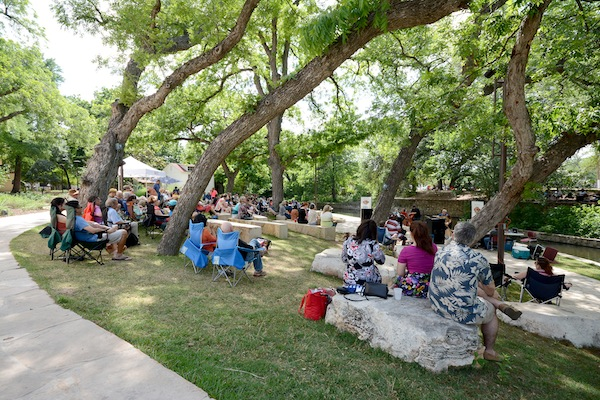 Jazz-lovers soak in the rays and sounds of the music they love along the San Antonio River.Courtesy photo.