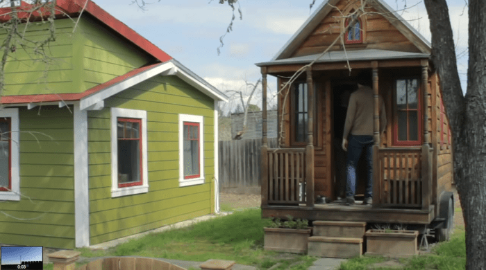 Occupants of small houses are forced to prioritize: More light means less storage, more porch means less interior space, but homeowners can enjoy the ingenuity that manifests. Screenshot from Tiny: A Story of Living Small.