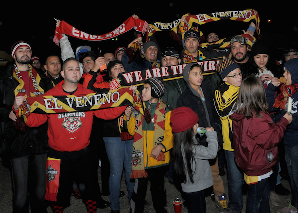 Fans braved the chilly conditions to celebrate the first NASL Championship game to be played at Toyota Field between the hometown Scorpions and the Fort Lauderdale Strikers. Photo by Kristian Jaime.