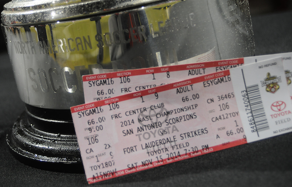 Tickets for the hometown Scorpions and the Fort Lauderdale Strikers final game. Photo by Kristian Jaime.Photo by Kristian Jaime.