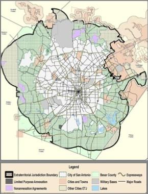 Current San Antonio limits and extraterritorial jurisdiction.