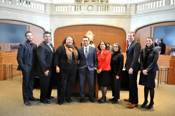 District 1 Councilmember Diego Bernal and staff pose for a photo after his last City Council meeting. Photo by Iris Dimmick.