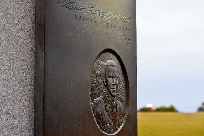 Bonfire Memorial portal honoring Texas A&M University student Nathan Scott West. Photo by Alex Richter.