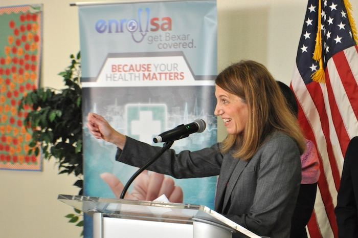Secretary for Health and Human Services Sylvia Burwell speaks at the Enroll SA event. Photo by Iris Dimmick.