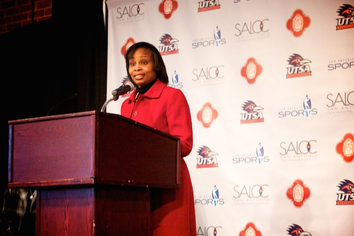 Mayor Ivy Taylor speaks at a press conference after news broke that San Antonio will be hosting the NCAA Final Four in 2018. Photo by Taylor Browning.
