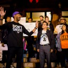 Mike Lowe speaks to the crowd at the SATX4Ferguson protest. Photo by Scott Ball.