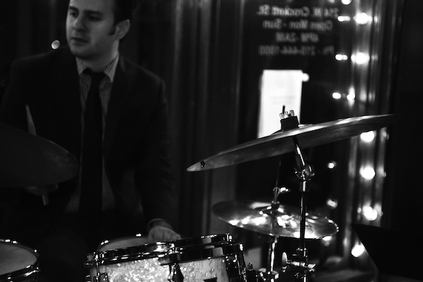 John Fernandez on drums with Midtown Jazz Sound at SoHo Wine and Martini Bar. Photo by Jennifer Lyde of Parish Photography.