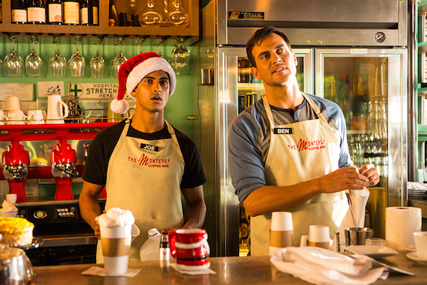"""Joe (portrayed by Rushi Kota) and Ben (portrayed by Cheyenne Jackson) work at a coffee shop (The Monterey) in """"The One I Wrote For You."""" Courtesy photo."""