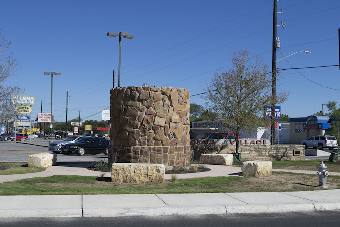 Stone pedestals installed at the intersection of Blanco and Basse, September 2014. Photo By Fred Van Atta