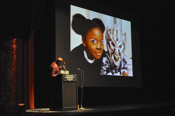Shokare Nakpodia takes the stage at at PeckaKucha San Antonio Vol. 16. Photo by Iris Dimmick.