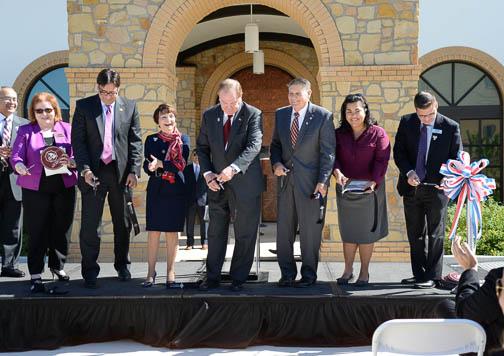 Dignitaries cut the ribbon at the Patriots' Casa at Texas A&M University-San Antonio Nov. 1. Photo by Annette Crawford.
