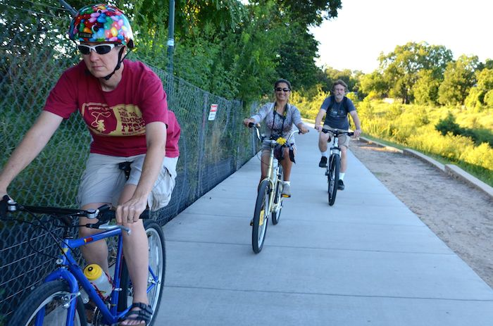 Cyclists ride on the Eagleland Reach. Photo by Steve Wood.