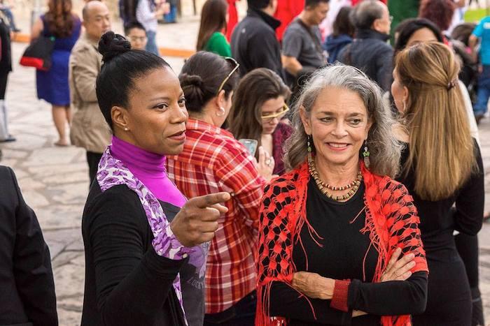 Paula Sullivan and artist Kathleen Trenchard at the third annual Flamenco Flashmob in front of the Alamo, November 2014. Photo by Matt Bynum.