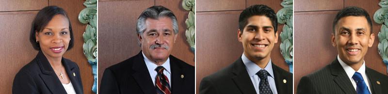 Interim Mayor Ivy Taylor, District 6 Councilmember Ray Lopez, District 4 Councilmember Rey Saldaña, District 7 Councilmember Cris Medina.
