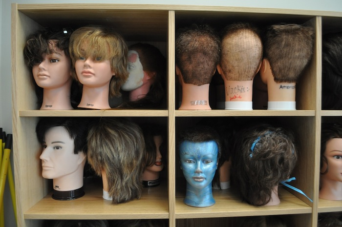 Practice mannequin heads used by cosmetology students at Brackenridge High School's Career and Technology Education building. Photo by Iris Dimmick.