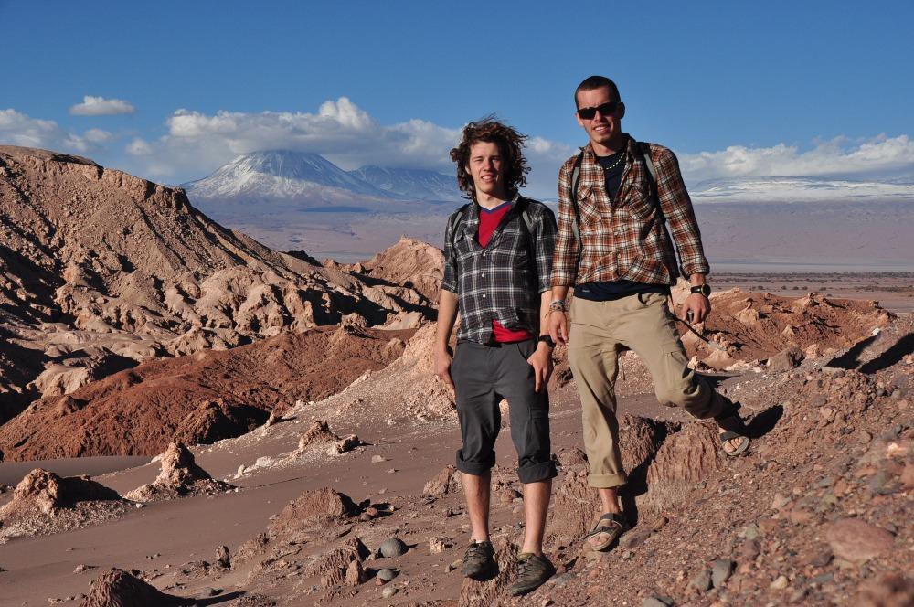 Everett (left) and Cameron Redus pose for a photo on Cerro Catedral mountain, Argentina. Photo courtesy Everett Redus.