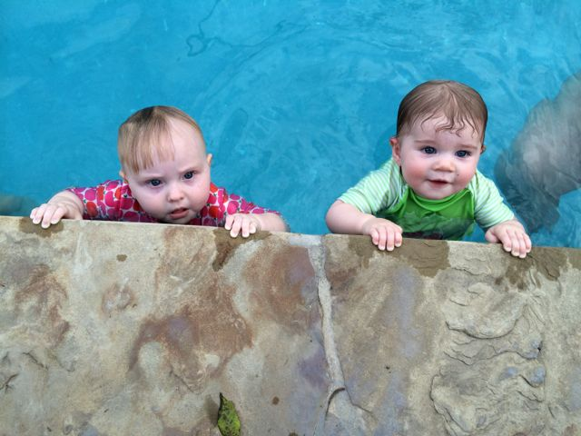 Urban Baby Moira McNeel (right) and a friend at Good-Swim. Photo by Bekah McNeel.