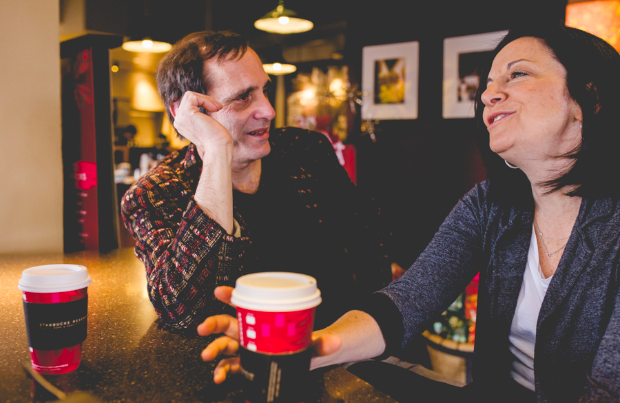 Cathy Siegel and Scott Becker of Bohanan's chat over coffee. Photo by Scott Ball.