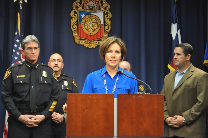 City Manager Sheryl Sculley stands with San Antonio Police Department Chief William McManus (left) to announce Deputy Chief Anthony Trevino as the SAPD interim chief. Photo by Iris Dimmick.
